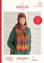 Sirdar Jewelspun Aran Knitting Pattern - 10027 Hat & Scarf